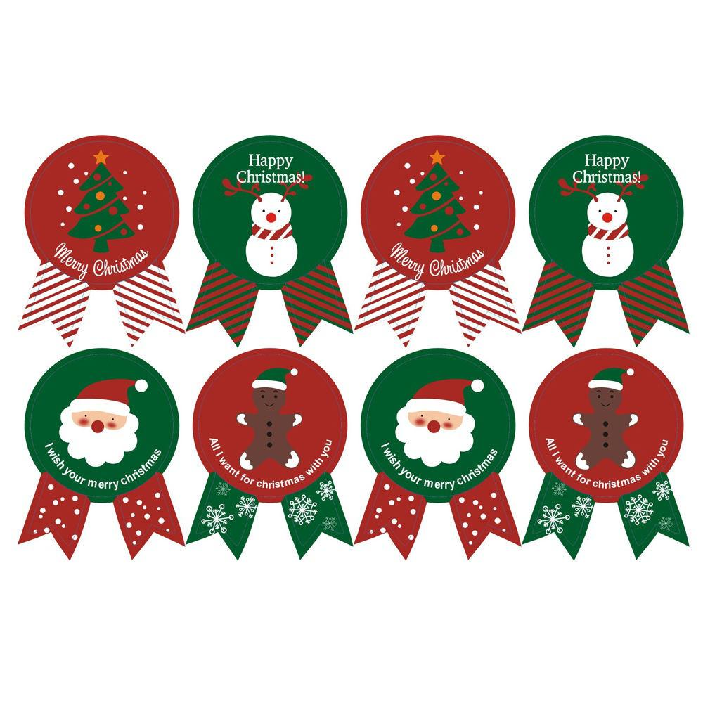 10 Sheets Merry Christmas Badge Sticker Label Envelope Seal Wrapping Stickers