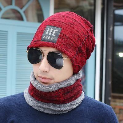 df2361f84ed Men s Winter Knitted Scarves + Hat Cap Set Thick Warm Caddice Hat Neck  Warmers Outdoor Bicycle