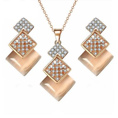 High Quality Crystal Diamond Rhinestone Pendent Necklace Earring Set Jewelry New