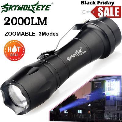 RP Skywolfeye 8000 LM LED T6 Zoom Linterna Police 5 modos luz de enfoque