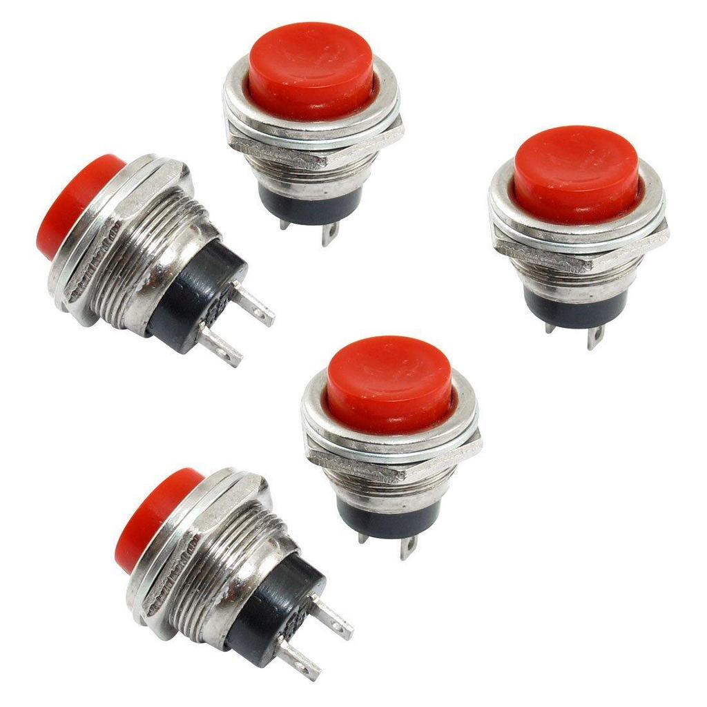 5Pcs Red Square Cap DC12V Light SPDT 5 Terminals Momentary Push Button Switch