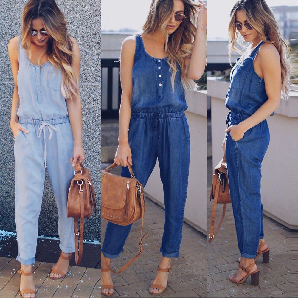 Mujeres De Vacaciones Enterizo Jeans Demin Elastica Cintura Tiras Mono Largo Comprar A Precios Bajos En La Tienda En Linea Joom