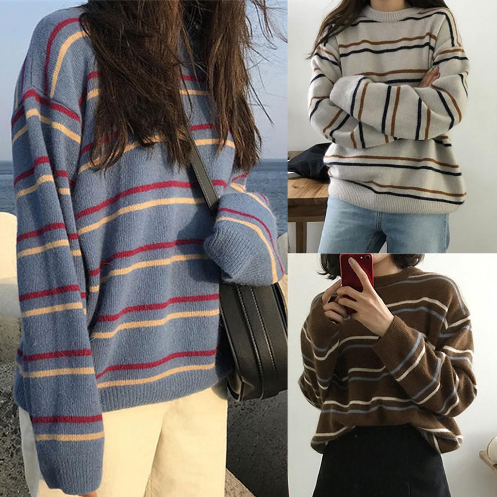 Мода женщин полоса Осенний Досуг Топ Длинный рукав свитер O-Neck блузка – купить по низким ценам в интернет-магазине Joom
