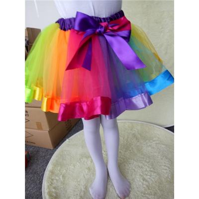 e6e95522abc6 Girls Kids Petticoat Rainbow Pettiskirt Bowknot Skirt Tutu Dress ...