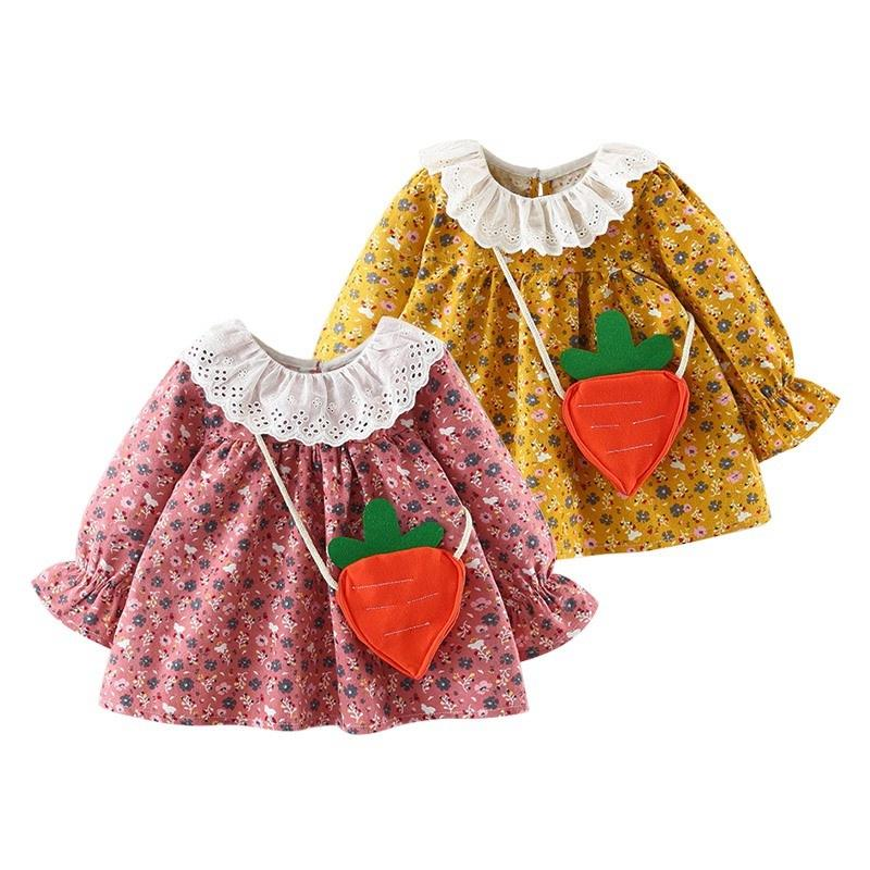 Autumn O-neck Flowers Splicing Kids Baby Dress Long Sleeves Yarn Dresses