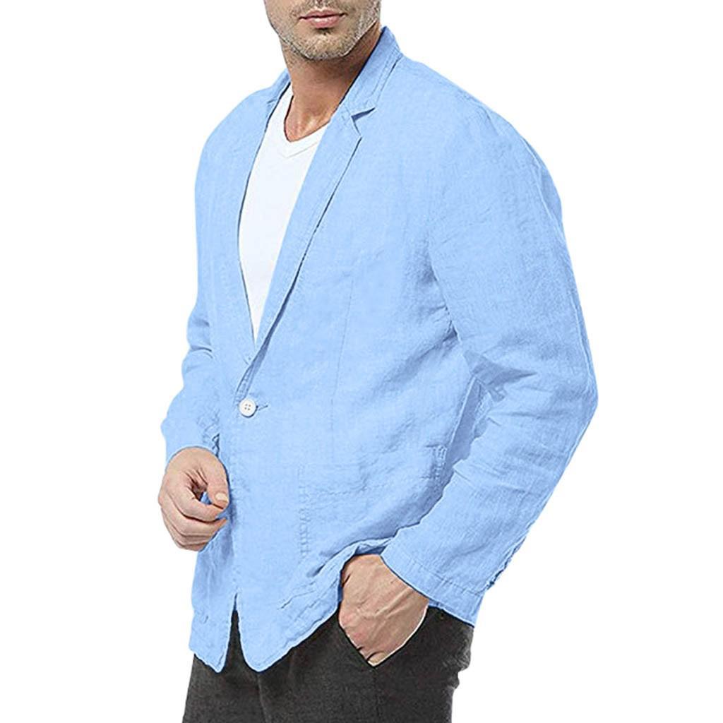 US Men Slim Fit Cotton Blend Solid Long Sleeve Thin Suits Blazer Jacket Outwear