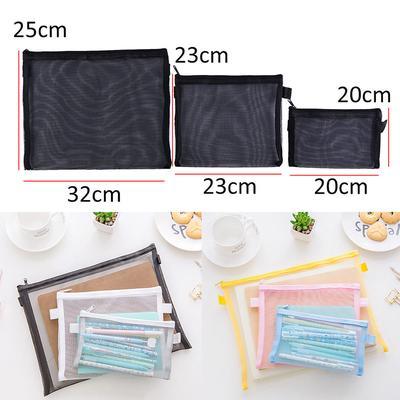 2pcs Clear Exam Pencil Case 32cm and 20cm Transparent various coloured zip w//