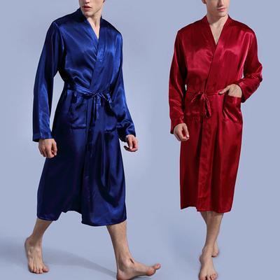 Men s Smooth Sleepwear Breathable Pajamas Silk Satin Long Sleeve Robes Home  Clothes 4 Colors Loose 45e79f355