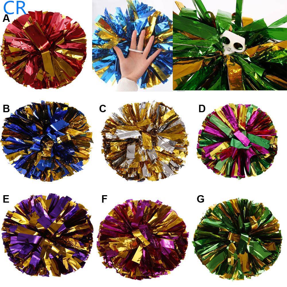 Plastic Poms Cheerleading Party Decor Metallic Foil Handheld Pom Ring