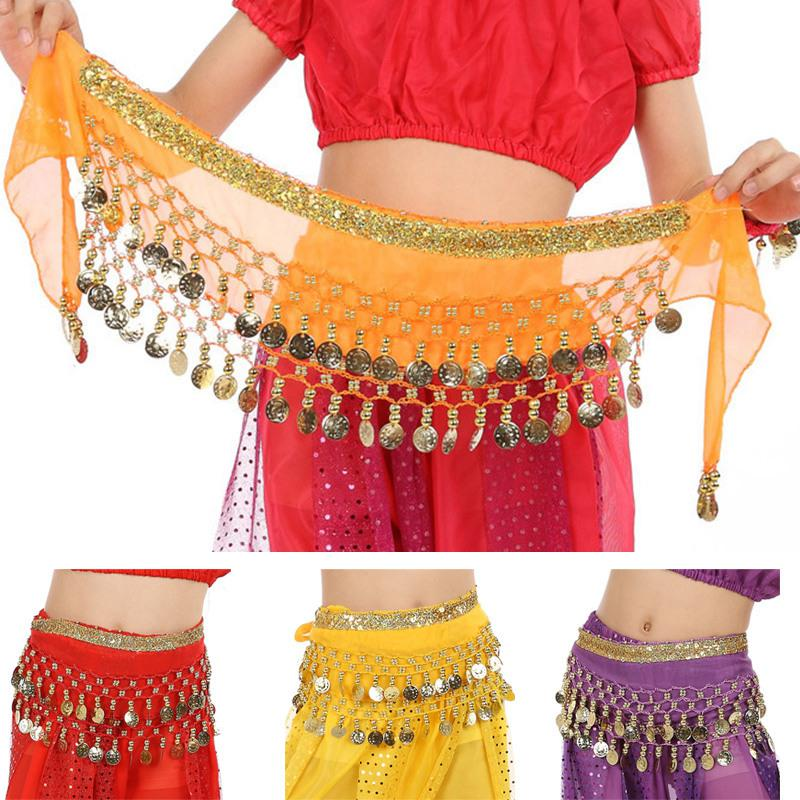 New Belly Dance Costume Coins Tribal Hip Scarf Belt Gold//Silver Bollywood 2color