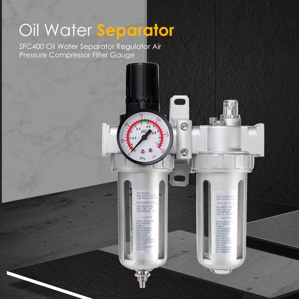Oil Water Regulator Tool Gauge Trap Oil Water Regulator Tools Kit Regulating Filter Air Pressure Regulator Lubricator Moisture Water Trap Oil-Water Separator for Compressor and Air Tools