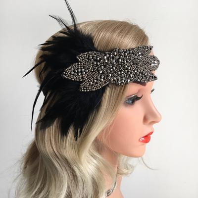 Feather Headband Rhinestone Fascinator 1920s Flapper Dance Gatsby Headpiece