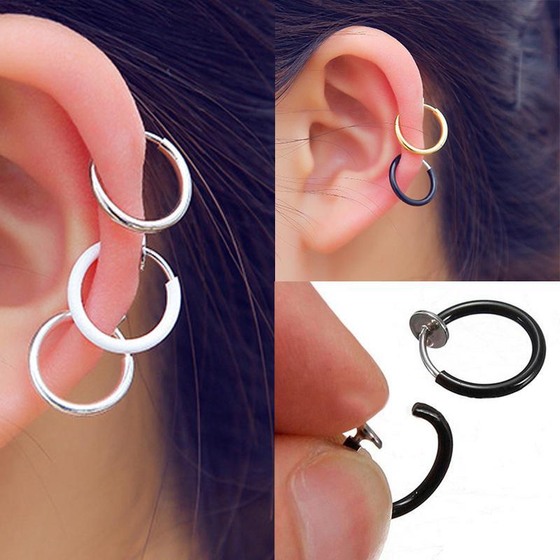 5pcs Nez Ouvrir Hoop Anneau Lèvre Earring Body Piercing goujons en acier inoxydable bijoux