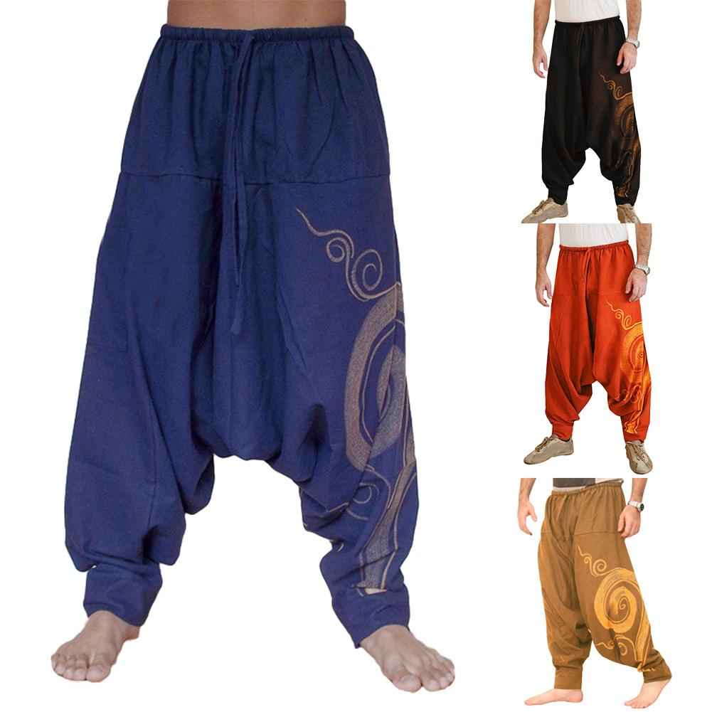 Mens Japanese Floral Loose Harem Pants Yoga Elastic Waist Casual Slacks Trousers