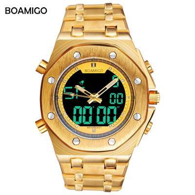 8ba75004a8c5 marca acero sport reloj analógico digital muñeca relojes hombres oro regalo hombre  reloj de cuarzo Relogio