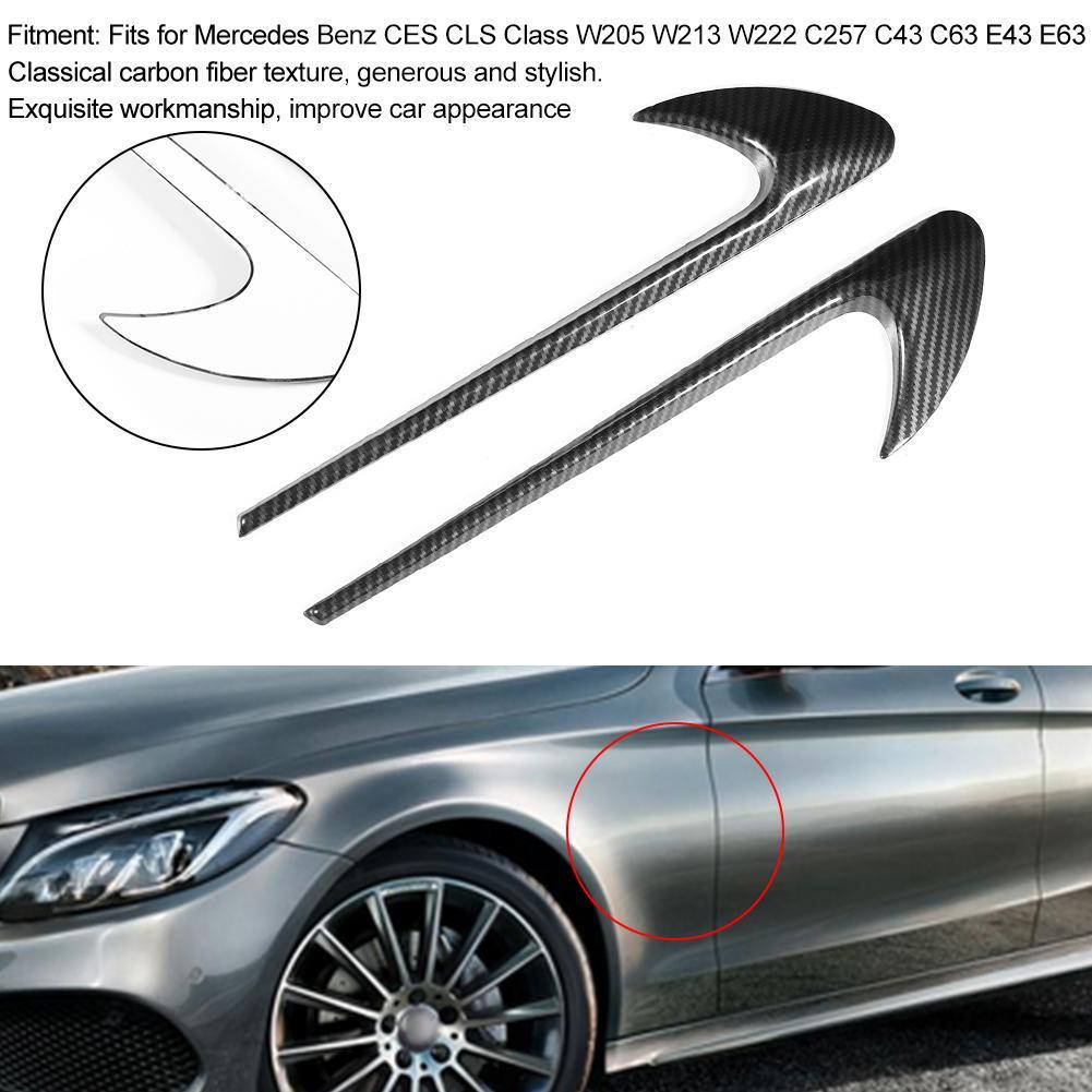 ABS Carbon fiber style Car Fender Emblem cover For Mercedes Benz C E S CLS Class