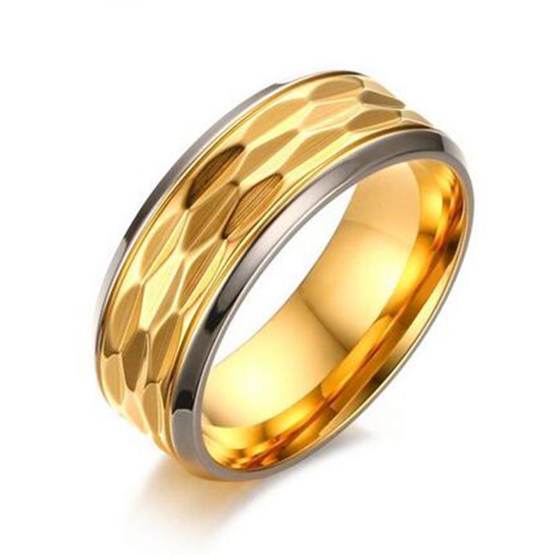 Bărbaţi Inel De Logodna Aur Culoare Inox Lăţime Calitate 8mm Oţel