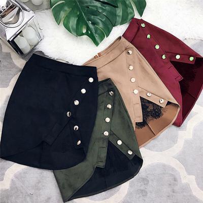 98e5e1804 De cintura alta lápiz faldas botón Patchwork Bodycon ante cuero Split  Casual Mini falda de encaje de las mujeres