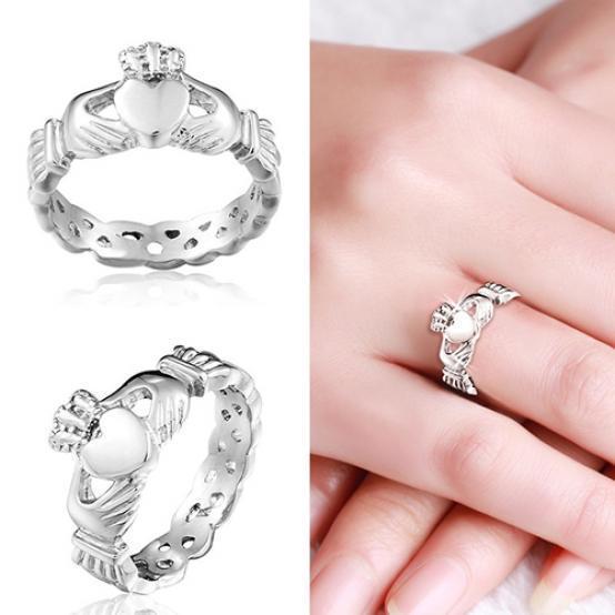 925 Silver Ruby zircon bague romantique Mariage Fiançailles Cadeau Main Bijoux 6-10