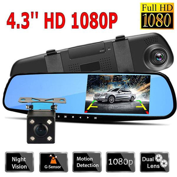 "1080P 4.3/"" Dual Lens Car DVR Rear View Mirror Dash Cam Video Camera Recorder BP"