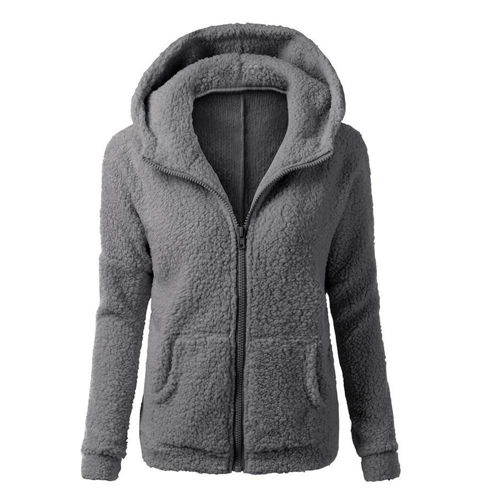Womens Thicken Fleece Fur Warm Winter Overcoat Coat Hooded Parka Jacket Outwears