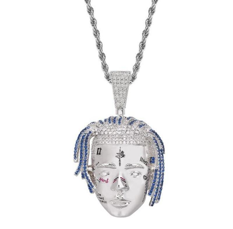 Completo de diamantes de imitación de aleación Corazón Collar Regalo Joyería de Moda Rapero Para Hombres Mujeres