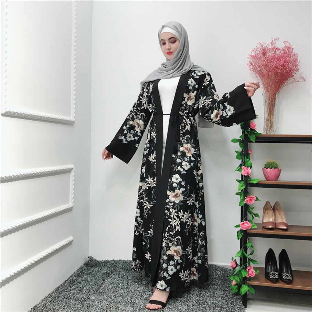 Women Muslim Long Sleeve Open Cardigan Jilbab Islamic Robe Abaya Maxi Dresses