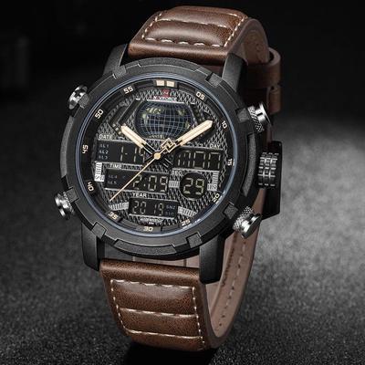 Sport Digital Watch for Men Leather Strap Dual Display Military Wristwatch