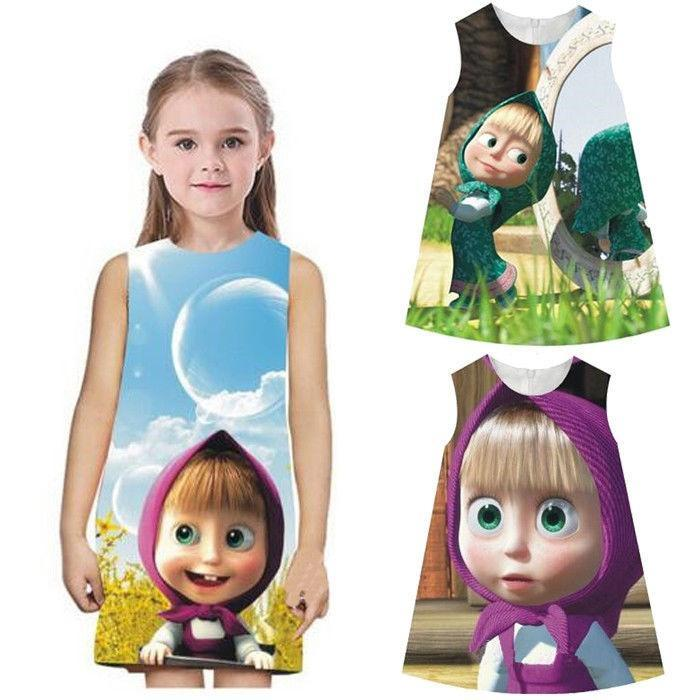 85758b30279 Cartoon Kids Baby Girls Masha And The Bear Party Dress Vest Skirt ...