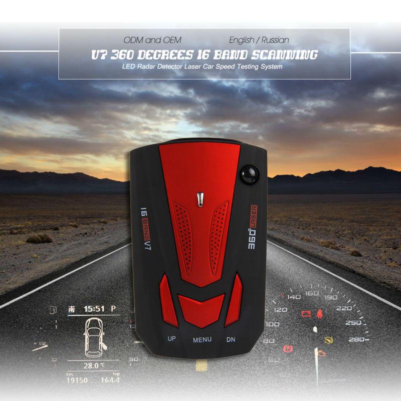 Car Radar Detector Laser Speed Detector V7 Cobra 16 Band English Russian Red New