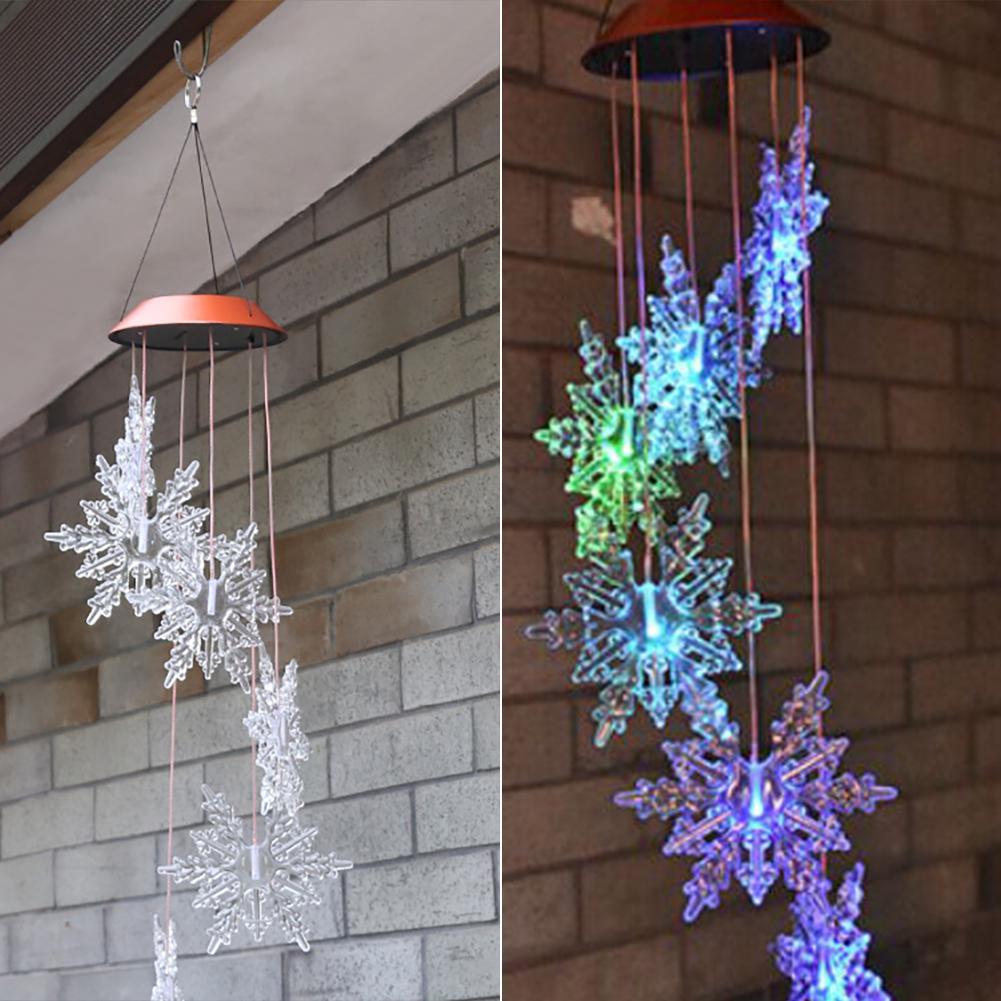 LED Solar Snowflake Wind Chime Lights Christmas Yard Garden Hanging Decor