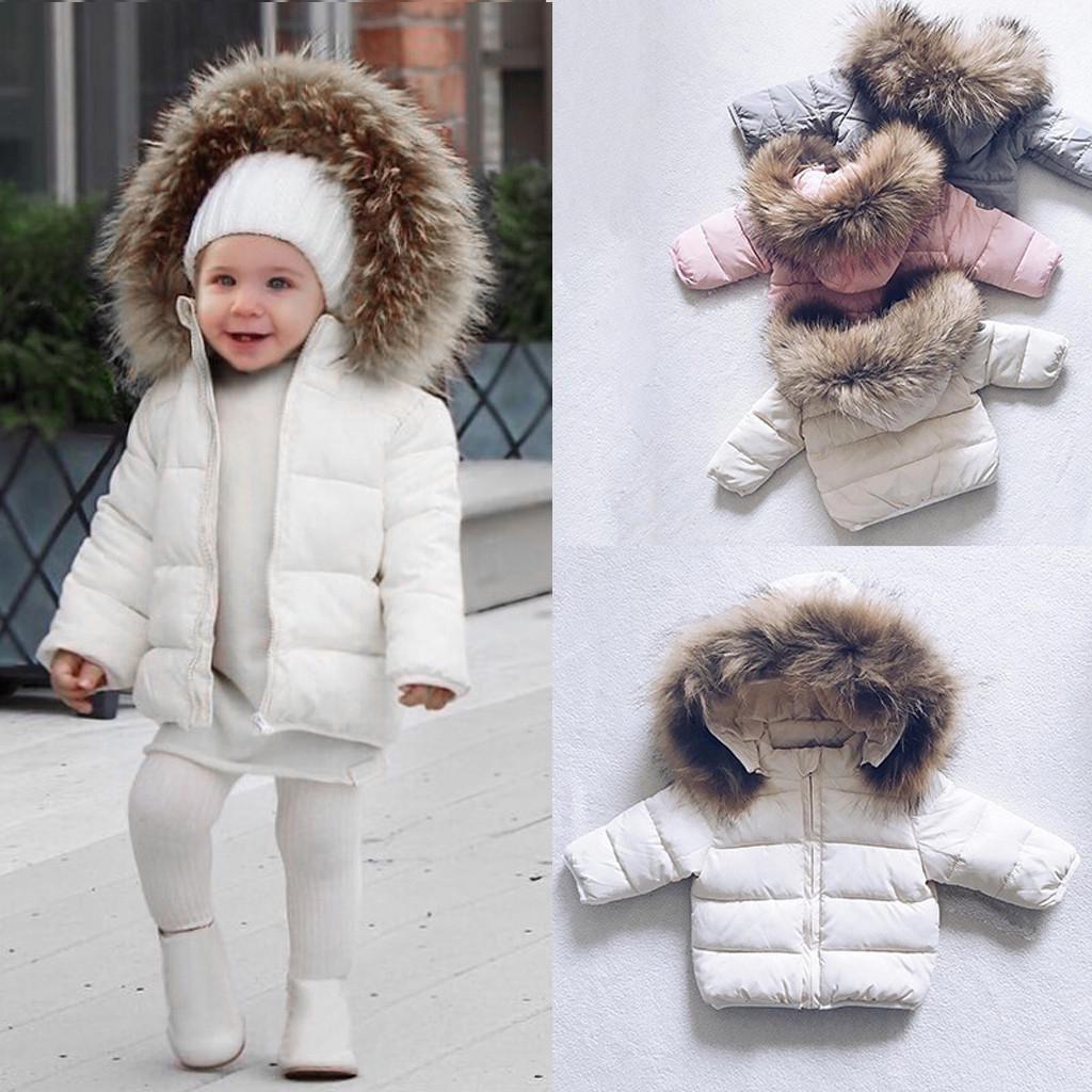 2020 Girls//Boys Kids Jacket Padded Hooded Faux Fur Collar Winter Warm Coats