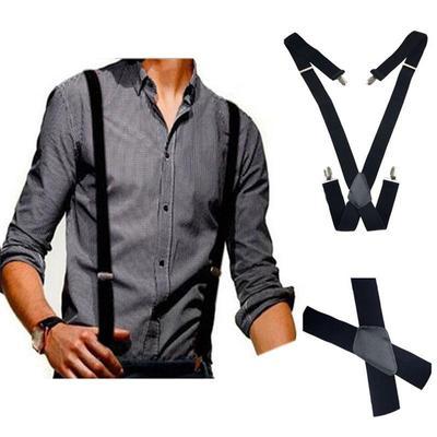 21a5f4edc7873 Cuir noir bretelles élastiques doux hommes bretelles clip-on X-Back réglable