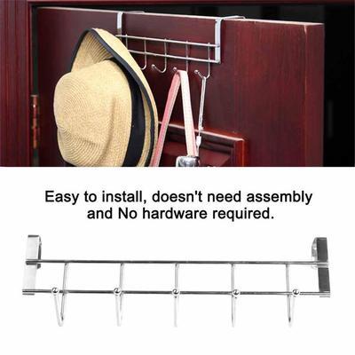 5 Hooks Hanger Hat Clothes Hanging Rack Holder Coat Towel Bag Over Door Bathroom