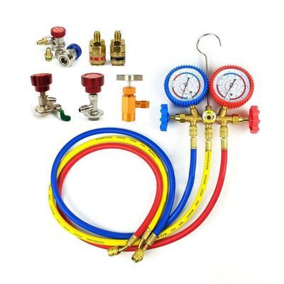 Car Air Conditioning Refrigerant Recharge Gas Pressure Gauge R134A Hose Valves