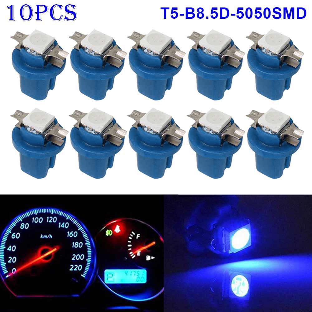 10Pcs New T5 B8.5D 1SMD 5050 Indicator Bulbs Gauge LED Car Lights Dashboard Side Interior Dash Lights