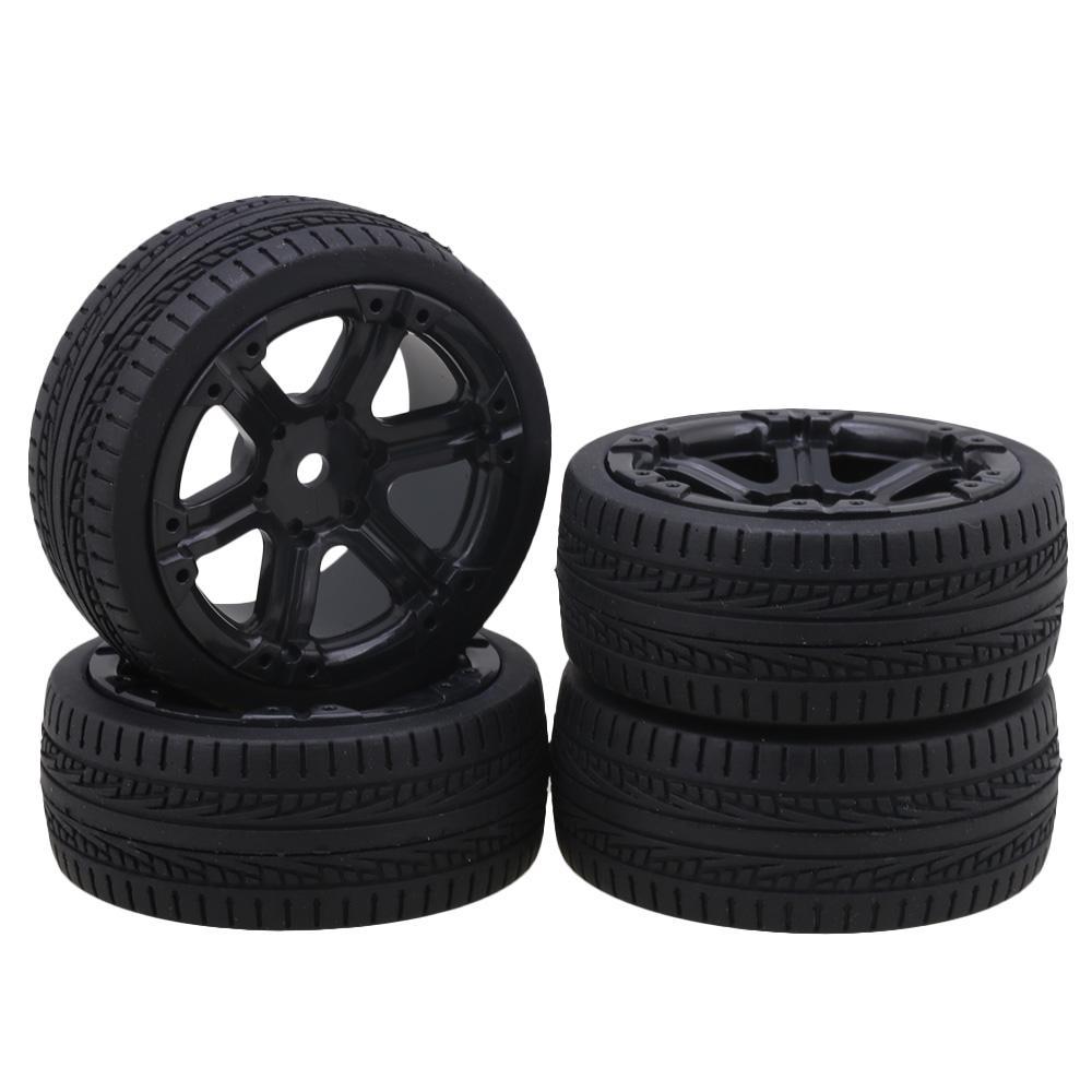 4 x RC 1:10 On Road Car Plastic 65mm Dia 5 Spoke Wheel Rim Square Pattern Tyre