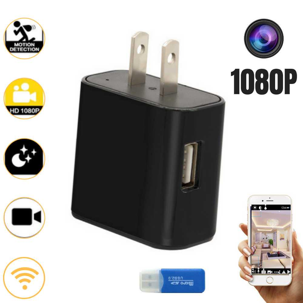 SPY WiFi Hidden Camera Wall Charger Infrared Remote Recorder Motion Nanny HD Cam