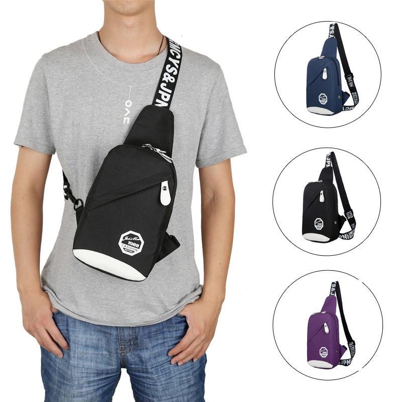 Мужская плечо мешок слинг груди Pack Нейлон USB Зарядка Спорт Crossbody Сумка фото