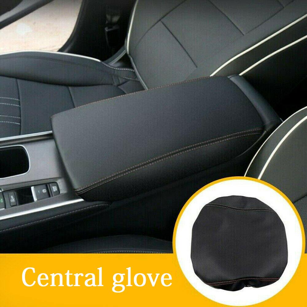 4x Top Leather Center Armrest Box Surface Case Cover Black For Honda Civic 16-17