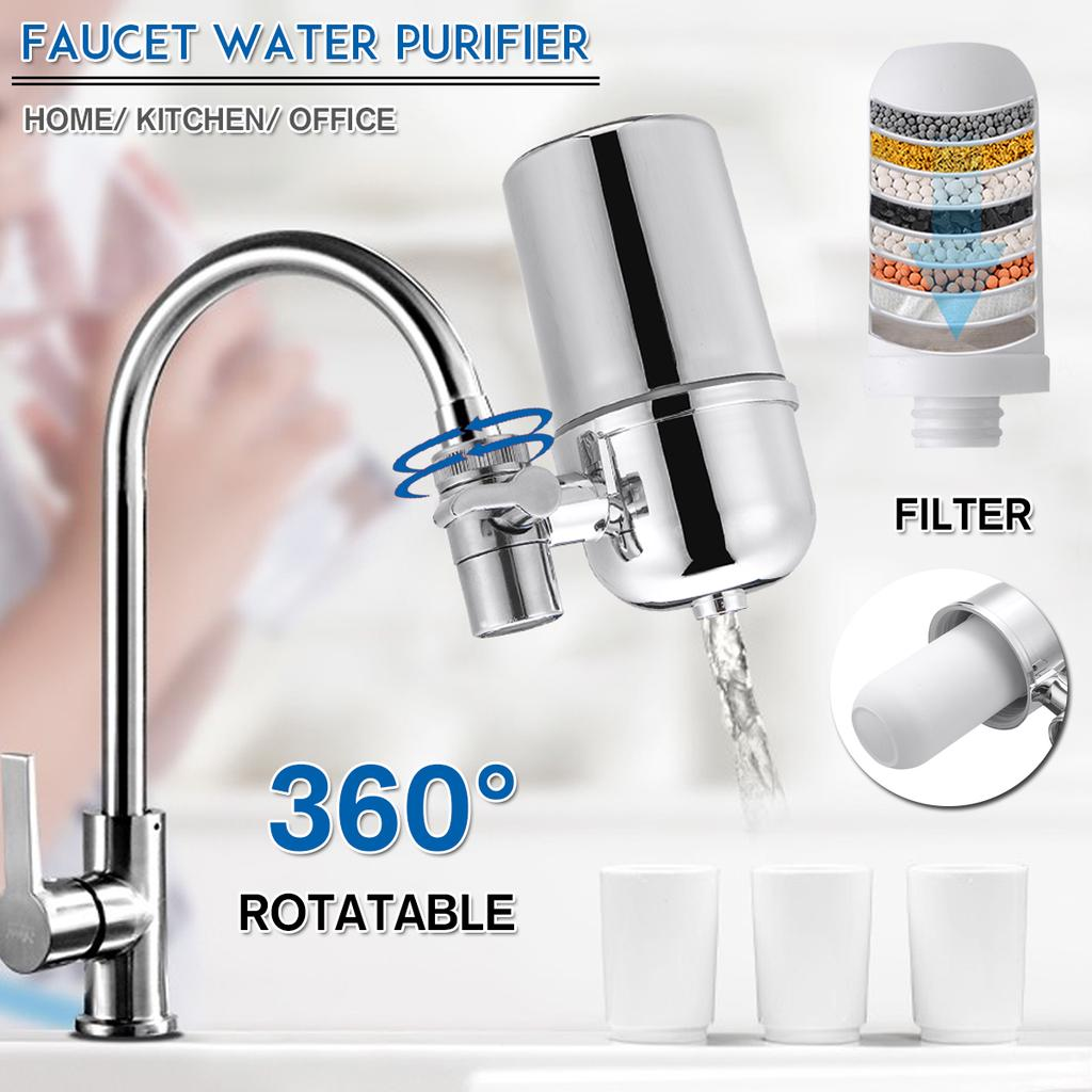 360 Rotate Water Filter Tap Faucet System Kitchen Home Mount Filtration Purifier