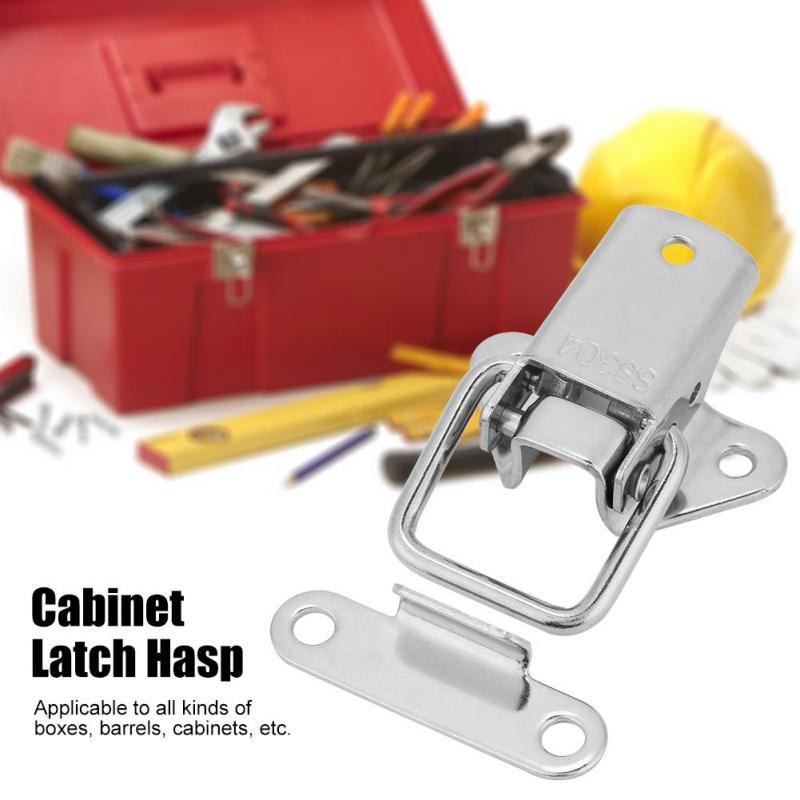 2pcs Stainless Steel Hardware Cabinet Case Spring Loaded Latch Catch Toggle Hasp #1 Latch Hasp