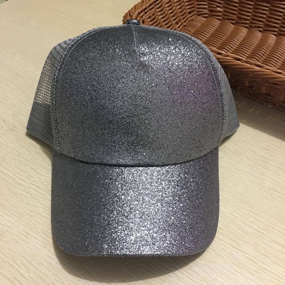 Mujer cola de caballo lentejuelas brillantes Snapback sombrero sol ... 85623a4ed0e