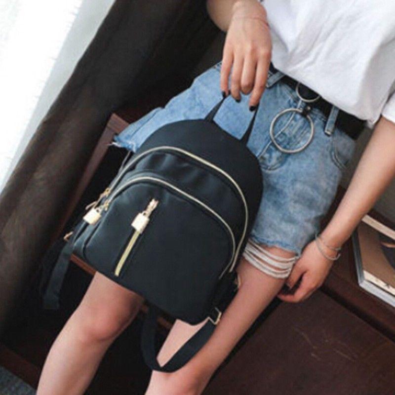 Мода женщин небольшой рюкзак путешествия нейлона сумка сумка черный рюкзак фото
