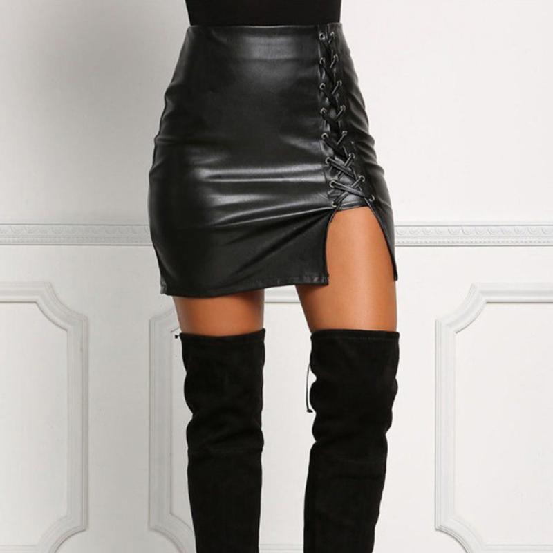 外贸爆款 黑色绑带半身裙下摆开叉不开裂PU皮裙高腰包臀裙女