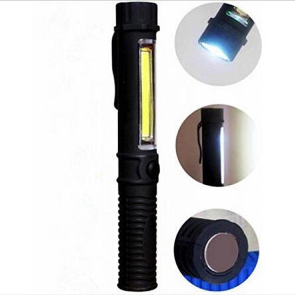 3W COB Pocket Pen Magnetic Torch Flashlight W//Clip 1W LED Torch Work Light Black