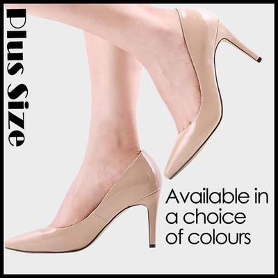 ee346089 Lady Women Lakierki ze skóry lakierowanej Mid High Heels Pointed Corset  Work Pumps Court Shoes US