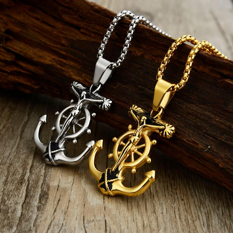 Rainwater Beads Mens Chains Mens Jewelry Mens Necklace Mens Jewelry Necklaces for Men Stainless Steel Chain Anchor Necklace