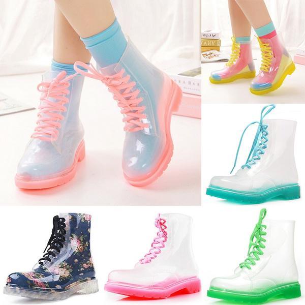 en venta b2479 0ee6c Botas de tacones plano cristal transparente zapatos de gelatina de moda  martín botas de lluvia agua