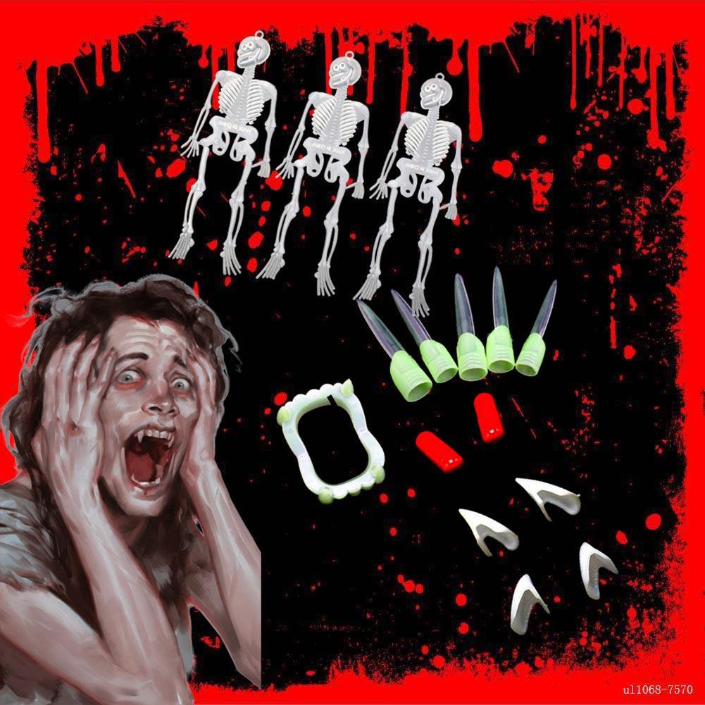 10X Dress Vampire Zombie Luminous Teeth Party Scary Costume Halloween